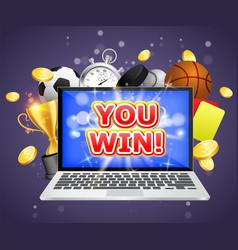 betting winner poster banner design vector image