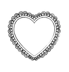 blurred silhouette heart with decorative frame vector image vector image
