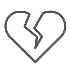 Broken heart line icon valentine and relationship vector