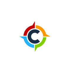 C letter compass logo icon design vector