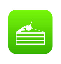 cake with cherries icon digital green vector image