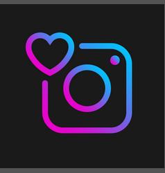 Camera icon with heart social symbol vector