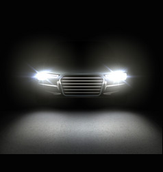 car with headlights vector image