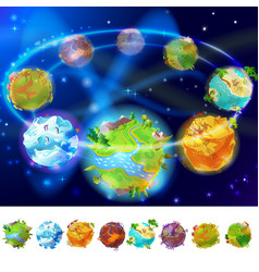 cartoon earth planets collection vector image