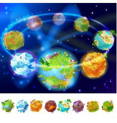 Cartoon earth planets collection vector