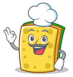 Chef sponge cartoon character funny vector