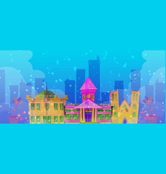 christmas city mystic background with night street vector image
