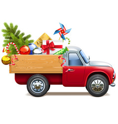 Christmas truck with fir tree vector