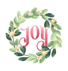Christmas wreath joy vector