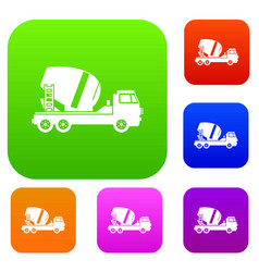 Concrete mixer truck set collection vector