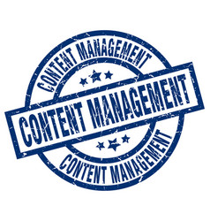 Content management blue round grunge stamp vector