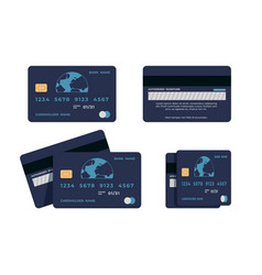Credit card flat mockup atm card wit numbers vector
