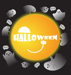 cute ghosts with moon background halloween vector image