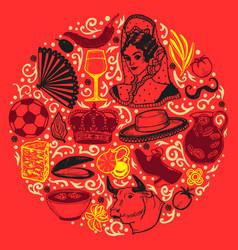 Dark round composition with spanish symbols in vector