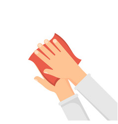 disinfection concept hands and wet wipe vector image