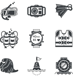 Diving objects black icons vector
