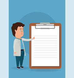 doctor pointing clipboard vector image