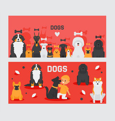Dog banners pet and cute boy cartoon characters vector