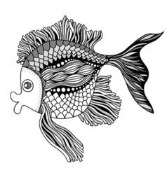 Doodle outline fish vector