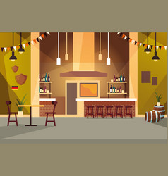 Drinking establishment and shelves with alcohol vector