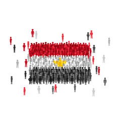 Egypt state flag formed by crowd of cartoon people vector