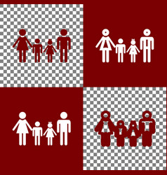 Family sign bordo and white icons and vector