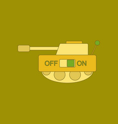 Flat icon on background kids toy tank vector