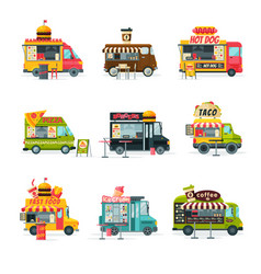 food trucks collection street meal vehicles fast vector image