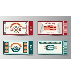 Football soccer and Baseball ticket design vector