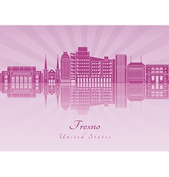 Fresno V2 skyline in purple radiant orchid vector image