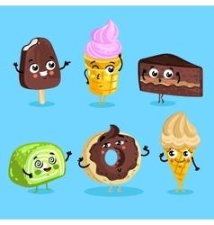 Funny sweet food characters cartoon isolated vector