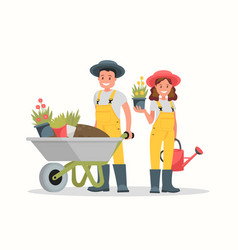 Gardeners man and woman vector