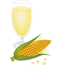 Glass of corn juice and fresh sweet corn vector