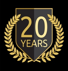 Golden laurel wreath 20 years vector image