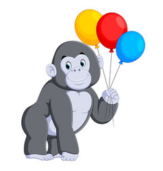gorilla standing and holding the colorful balloon vector image