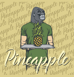 gorilla with pineapple vector image