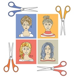 hairstyles and scissors 2 vector image