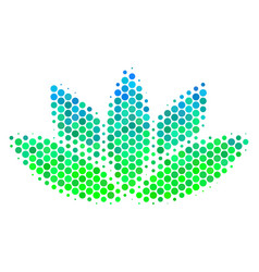 halftone blue-green lotus flower icon vector image