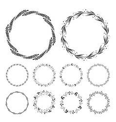 Hand drawn floral wreath clip art round frame wit vector