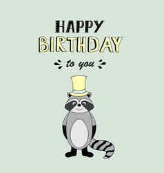 Happy birthday lettering party with baby raccoon vector