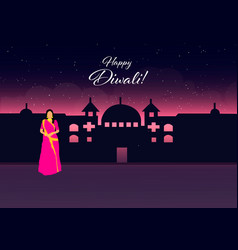 happy diwalihappy diwali traditional indian vector image