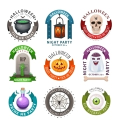 Happy Halloween badges and labels vector image