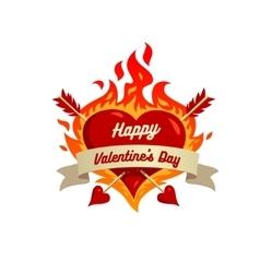 Heart on fire isolated on White background vector