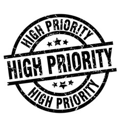 High priority round grunge black stamp vector