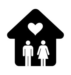 House with heart simple icon vector image