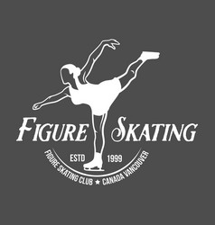 Ice skating label logo set vector