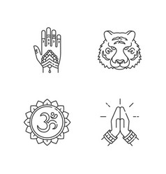 Indian culture pixel perfect linear icons set vector