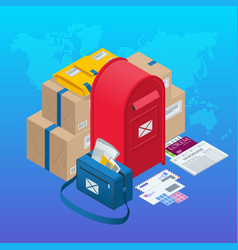 Isometric concept post office mailbox magazines vector