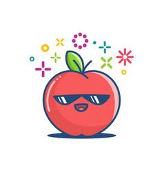 Kawaii sunglasses apple emoticon cartoon vector