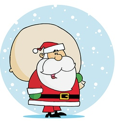 Kris Kringle Carrying A Toy Sack In The Snow vector